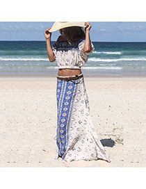 Fashion Blue Geometric Shape Decorated Short Sleeve Skirt Suits