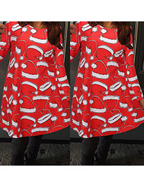 Fashion Red Christmas Hat Pattern Decorated Long Sleeve Loose Dress