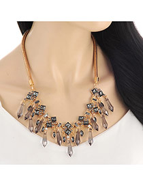 Lovely Gray Arrows Shape Gemstones Decorated Short Chain Necklace