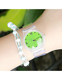 Sweet Green Clover Pattern Decorated Transparent Watch