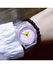 Sweet Pink Egg Pattern Pattern Decorated Transparent Watch