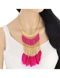 Elegant Plum Red Feather&tassel Pendant Decorated Short Chain Necklace