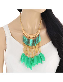 Elegant Green Feather&tassel Pendant Decorated Short Chain Necklace