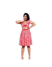 Sexy Pink Watermelon Pattern Decorated V Neckline Pleated Dress