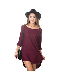 Casual Claret-red Pure Color Decorated Long Sleeve Loose Irregular Skirt