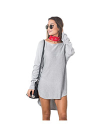Casual Gray Pure Color Decorated Long Sleeve Loose Irregular Skirt