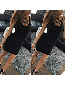 Sexy Black Cross Strap Decorated Sleeveless Tight Dress