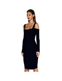 Sexy Black Pure Color Decorated Off-the-shoulder Tight Long Dress