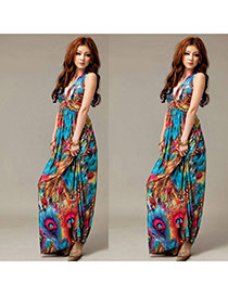 Bohemia Peacok Blue Scrawl Pattern Decorated Sleeveless V Neckline Long Dress