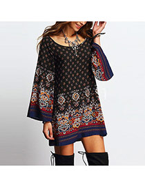 Trendy Black Geometric Shape Pattern Decorated Loose Sleeve Dress