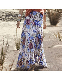 Casual Apricot Flower Pattern Decorated Long Skrits