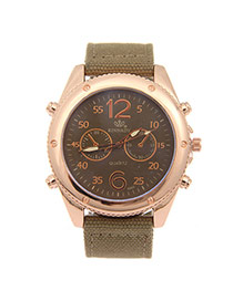 Fashion Light Coffee Big Digit Decorated Pure Color Strap Watch