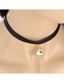 Trendy Black Triangle Pendant Decorated Simple Necklace