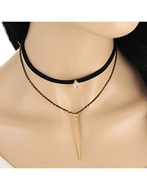 Fashion Black Vertical Bar Pendant Decorated Double Layer Necklace