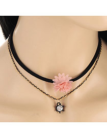 Fashion Pink Flower&diamond Decorated Double Layer Necklace