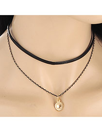 Fashion Gold Color Sun Pendant Decorated Double Layer Necklace