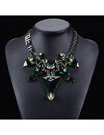 Exaggerated Green Triangle Pendant Decorated Short Chain Necklace