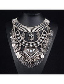 Exaggerated Anti-silver Coins Tassel Pendant Decorated Geometric Necklace