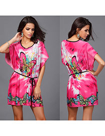 Bohemia Plum Red Butterfly Pattern Decorated Batwing Sleeve Short Dress