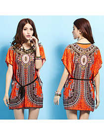 Vintage Orange Printing Flower Pattern Decorated Batwing Sleeve Waisting Short Dress