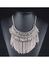 Exaggerate Silver Color Metal Square Pendant Decorated Tassel Necelace