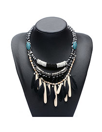Vintage Black Feather Pendant Decorated Multilayer Necklace