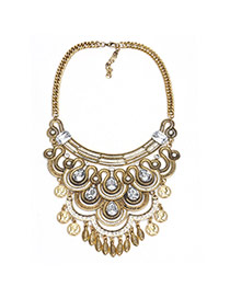 Exaggerate Gold Color Waterdrop Shape Diamond Decorated Hollow Out Necklace