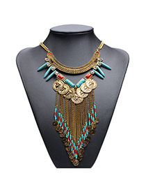 Vintage Gold Color Metal Coins Decorated Double Layer Tassel Necklace