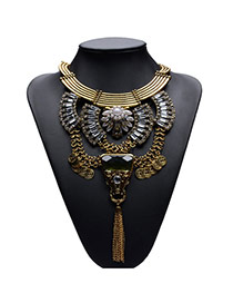Exaggerate Gold Color Hollow Out Design Metal Tassel Collor Necklace