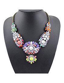 Lovely Multi-color Flower Decorated Short Chain Necklade