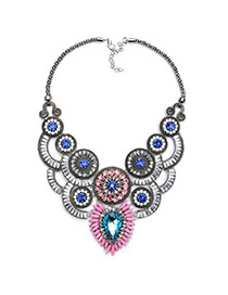 Luxury Blue Round Shape Decorated Hollow Out Necklace