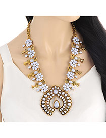 Vintage White+gold Color Gemstone Flowe Shape Decorated Collar Necklace