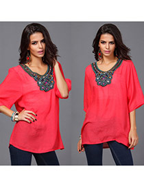 Casual Watermelon Red Embroidery Pattern Decorated Short Sleeve Long Blouse