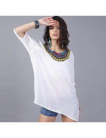 Casual White Embroidery Pattern Decorated Three Quarters Sleeve Long Blouse