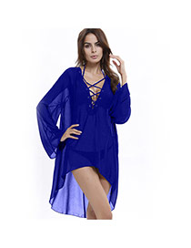 Casual Blue Pure Color Decorated V Necklace A-line Mini Chiffon Dress