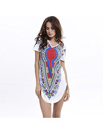 Casual White Painting Flower Pattern Decorated Short Sleeve Simple Dress
