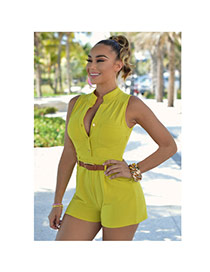 Fashion Yellow Pure Color Decorated Sleeveless Short Jumpsuits(with Waistbelt)