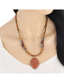 Vintage Coffee Oval Bead Pendant Decorated Multilayer Necklace