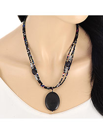 Vintage Black Oval Bead Pendant Decorated Multilayer Necklace