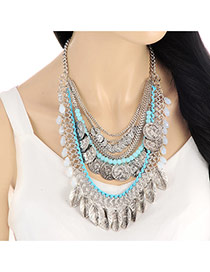 Vintage Blue Leaf&coins Tassel Decorated Multilayer Necklace