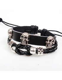Vintage Black Skull Decorated Multilayer Weaving Bracelet