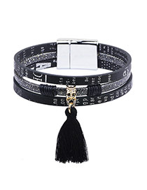 Fahion Black Tassel Pendant Decorated Multilayer Bracelet