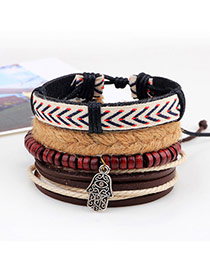 Vintage Red Hand Pendant Decorated Multilayer Simple Bracelet