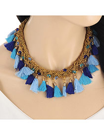 Vintage Multi-color Tassel Pendant Decorated Collar Simple Necklace