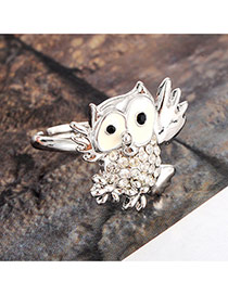 Cute Silver Color Owl Shape Decorated Simple Ring