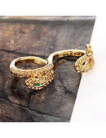 Cute Gold Color Snake Shape Decorated Simple Ring