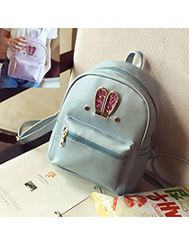 Cute Blue Rabbit Shape Decorated Pure Color Backpack