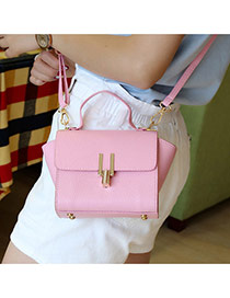 Elegant Pink Metal U Shape Button Decorated Pure Color Shoulder Bag