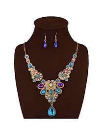 Luxury Multi-color Geometric Shape Diamond Decorated Short Chain Jewelry Sets