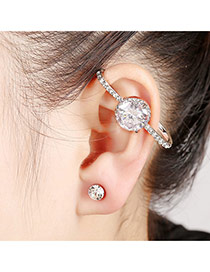 Elegant Silver Color Round Diamond Decorated Simple Earring